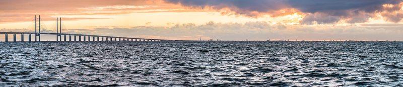 3D město pohled na kodaň z pobřeží malmo